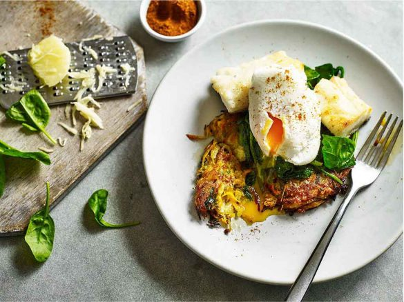 Indian Spiced Potato Rosti with Haddock and Poached Egg