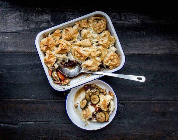 courgette and filo pie