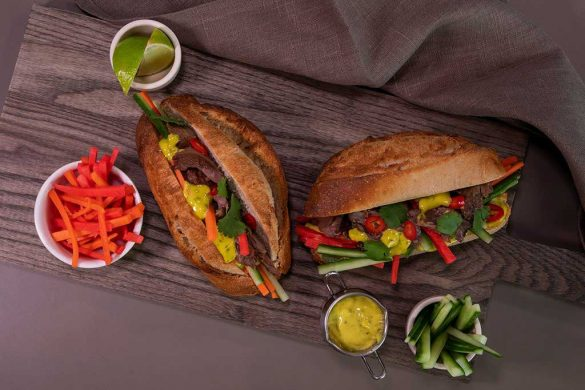 Pulled lamb Bánh mì with mint mayonnaise