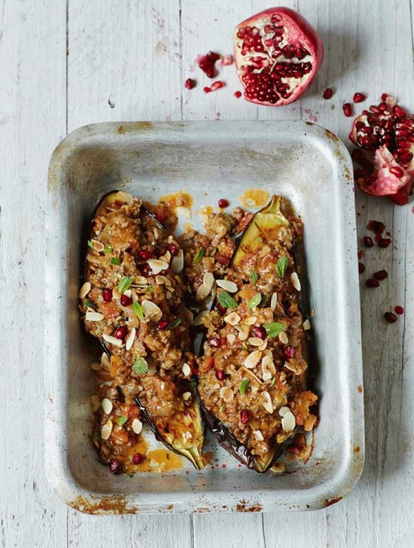 baked aubergine with spiced lamb, mint & pomegranate
