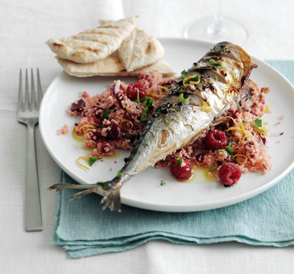 Grilled mackerel with beetroot and raspberry couscous