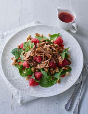 Pulled Lamb Chickpeas and Raspberry Salad