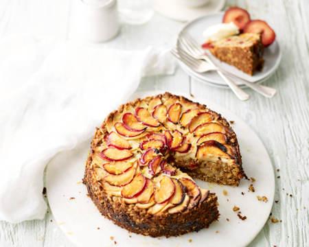 Apple, Plum & Marzipan Crumble Cake