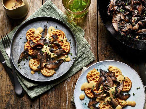 Vegan Portobello Mushroom Waffles