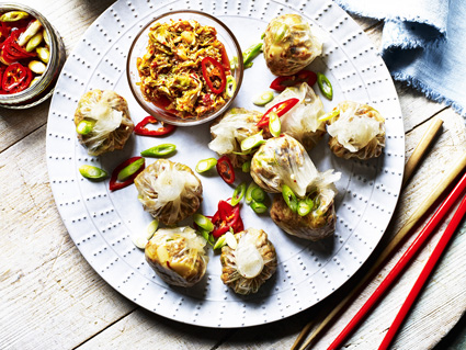 Pork and Potato dumplings with easy kimchi