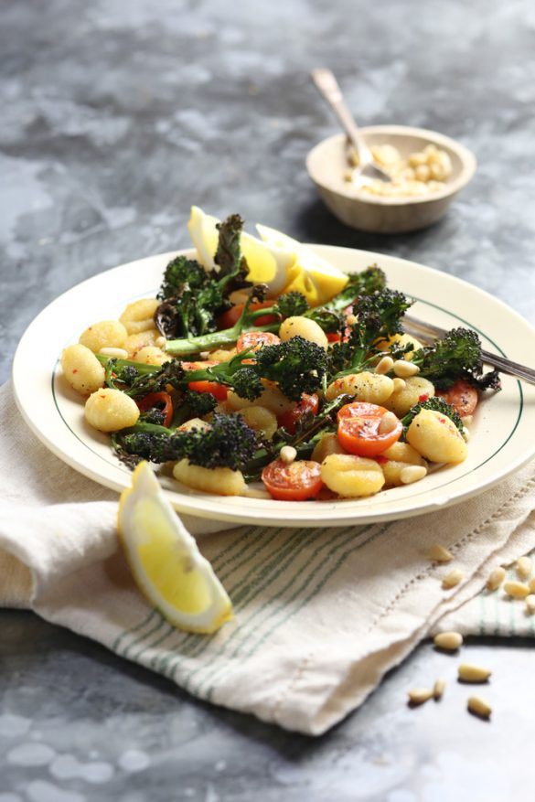 Fried Gnocchi with Purlple Sprouting Broccoli