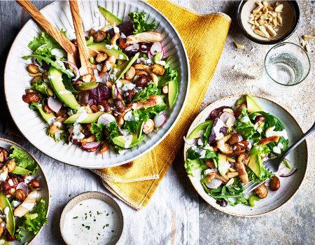 Mushroom chicken keto salad