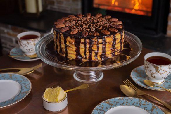 Layered Rodda's Clotted Cream and Banoffee Pancake
