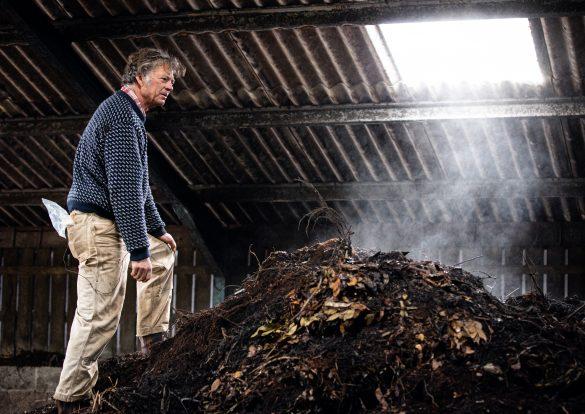 Riverford's Guy Singh-Watson composting