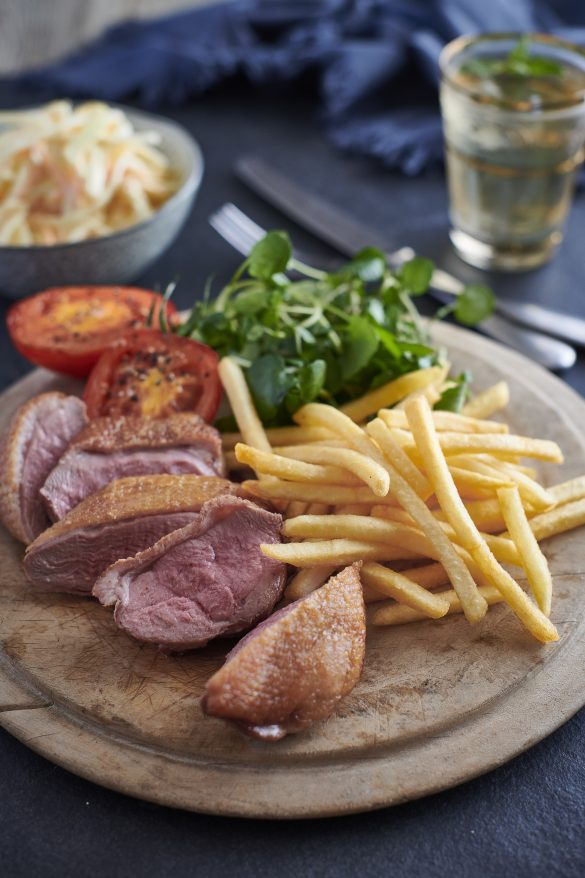 Gressingham duck steak and fries
