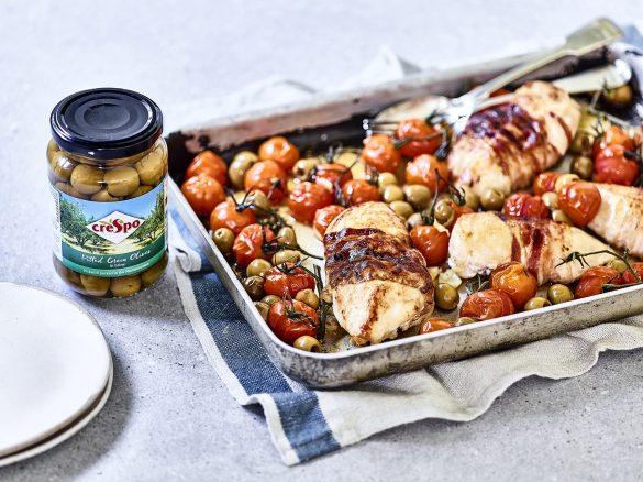 Pancetta chicken olive tomato traybake