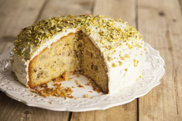 Rhubarb, ornage, pistachio and cardamom cake